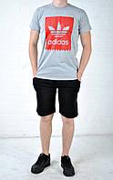 Летний комплект Reebok  серая футболка черные шорты
