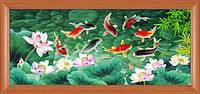 """Наборы для рисования камнями 5D (частичная выкладка на холсте) """"Рыбки"""" LasKo 5D-045"""