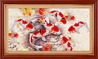 """Наборы для рисования камнями 5D (частичная выкладка на холсте) """"Золотые рыбки"""" LasKo 5D-040"""