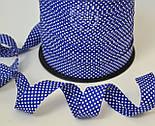 Косая бейка из хлопка  для окантовки с белыми точками на темно-синем фоне, фото 2
