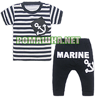Детский летний костюм р. 92-98 для мальчика тонкий ткань СТРЕЙЧ-КУЛИР 95% хлопок, 5% эластан 3685 Синий 92
