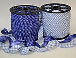 Косая бейка из хлопка  для окантовки с белыми точками на темно-синем фоне, фото 3