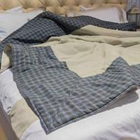 Покрывало-одеяло демисезонное с Коноплей 200х220 HEMP серо-голубая клетка