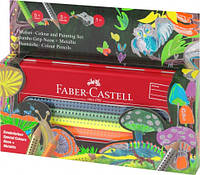 Цветные карандаши Faber-Castell 10 цв. GRIP NEON+METALLIC+точилка трехгранные в метал. пенале 110940