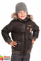 Куртка-пуховик для мальчика с шевроном Choupette 201.07, цвет коричневый
