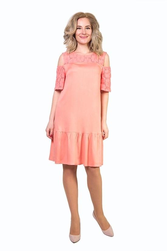 Лаконичное платье персикового цвета - Оптово - розничный магазин одежды
