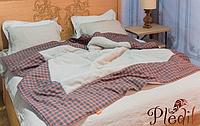 Покрывало-одеяло демисезонное с Коноплей 200х220 HEMP оранжево-серая клетка