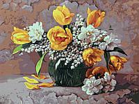 Картина по номерам без коробки BK-GX7858 Желтые тюльпаны и ландыши (40 х 50 см) Без коробки