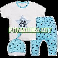 Детский летний костюмчик р. 68 для новорожденного тонкий ткань КУЛИР 100% хлопок ТМ Малина 3674 Бирюзовый