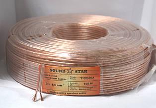 Кабель акустический 2х1,0 мм.кв., CCA, прозрачный, 100м