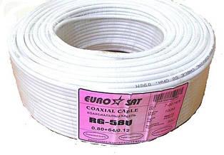 Коаксиальный кабель RG-58U (0.8СU+ Al foil+ 64х0,12мм) белый 100м