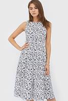 Жіноче біле плаття в синю квітку Sandra