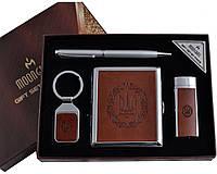 """Набор подарочный для мужчины """"Moongrass"""" 4в1 Портсигар,зажигалка,брелок,ручка AL-115"""