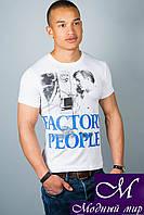 Мужская белая футболка с принтом (р. 44-52) арт. 305