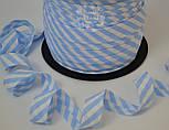 Косая бейка из хлопка с голубой полоской 5 мм для окантовки, фото 2