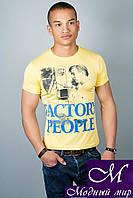 Мужская желтая футболка с принтом (р. 44-52) арт. 307