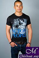 Мужская черная футболка с принтом (р. 44-52) арт. 306