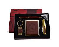 Набор подарочный мужской 4в1 портсигар/нож/ручка/брелок кожа Украина YJ 6420