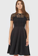 Чорне коктейльне плаття прикрашене гіпюром Iren