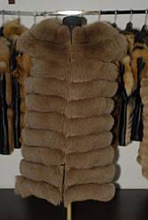 Меховая песцовая жилетка, низ - трансформер