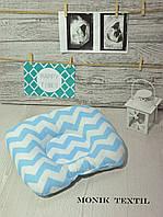 Подушка детская ортопедическая зиг заг голубой