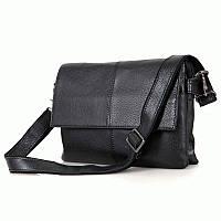 Повседневная и очень удобная кожаная мужская сумка-мессенджер,  C003A,Черный