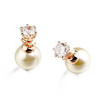 Сережки реплика Mise En Dior белые  покрытие 18К золото