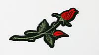 Аппликация (термо) мал. розы 2 бутона  красн./хаки  10х4,0 см