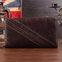 Кожанный кошелек клатч для мужчин S.J.D. 8020C, коричневый