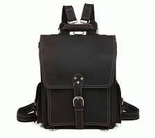 Стильный мужской кожаный рюкзак  t1097  Коричневый