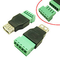 Переходник USB 2.0 Type-A гнездо разъем мама – клеммники 5pin