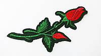Аппликация (термо) мал. розы 2 бутона  красн./зел.  10х4,0 см
