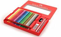 Цветные карандаши Faber-Castell акварельные 48 цветов+аксессуары в металлической коробке 115933