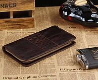 Практичный мужской кошелек-барсетка из натуральной кожи  S.J.D. 8028C, коричневый