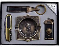 Набор подарочный для мужчины зажигалка.нож.брелок.пепельница YJ6362.