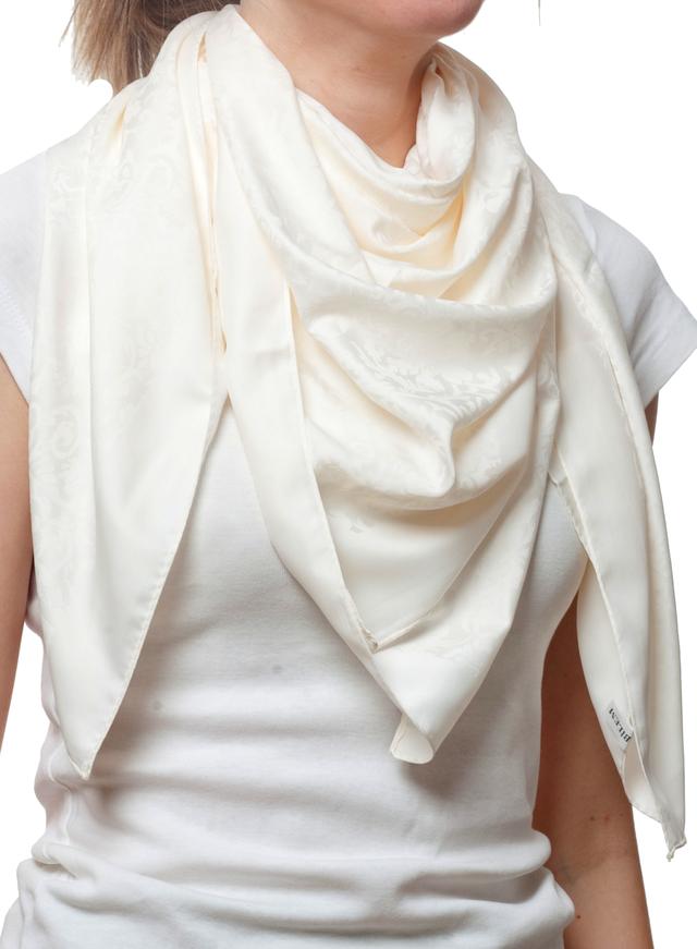 Турецкий шелковый атласный бежевый платок 1