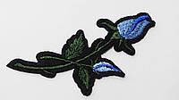 Аппликация (термо) мал. розы 2 бутона  голуб.  10х4,0 см