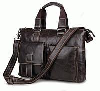 Кожаная мужская сумка-портфель коричневая,  S.J.D. 7264J