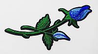 Аппликация (термо) больш. розы 2 бутона  голуб. 16х6 см