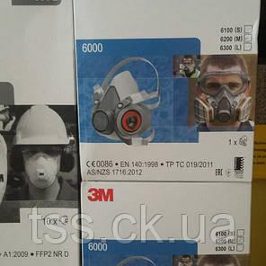 Полумаска 3М серии 6000, размеры: S–L (6100, 6200), фото 2