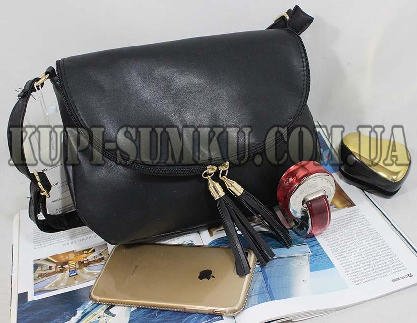 9020c843d83b Черная стильная сумка на длинном ремне - Интернет-магазин