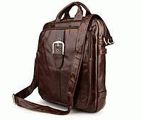 Уникальный рюкзак трансформер - сумка, крос боди, мессенджер, портфель  S.J.D. 7279C Коричневый