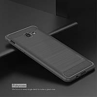 Чехол накладка IPAKY TPU Fiber Carbon для Samsung J730 J7 2017 серый
