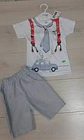 """Костюм для мальчика летний """"Подтяжки"""", шорты - паплин в рубчик. Размер 3 года,(последний размер)"""