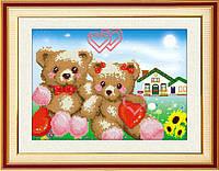 """Наборы для рисования камнями 5D (частичная выкладка на холсте) """"Мишки"""" LasKo 5D-028"""