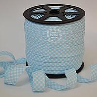 Косая бейка из хлопка в светло-голубую клеточку для окантовки