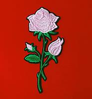 Аппликация (термо) больш.  розы  3 бутон. розов. 16,5х7,7 см