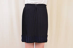 Красивая школьная плисированная юбка с кружевом, р.128-146, фото 2
