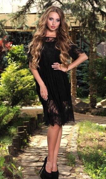 17a9cb48666 Черное кружевное платье