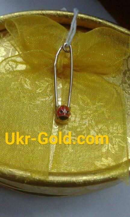 Золотая булавка с божье коровой - Ukr-Gold в Одессе